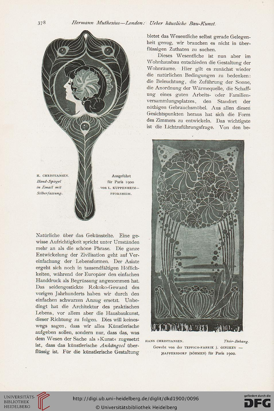 Spiegel Entwurf Hans Christiansen. 1900 für die Pariser Weltausstellung. Mirror made by Kuppenheim, designed by Hans Christiansen for the worldexhebition in Paris 1900.