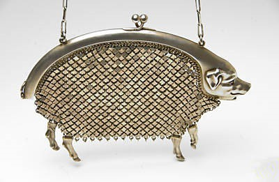 Geldbörse in Silber louis kuppenheim in form eines schweins, money wallet in shape of a pig