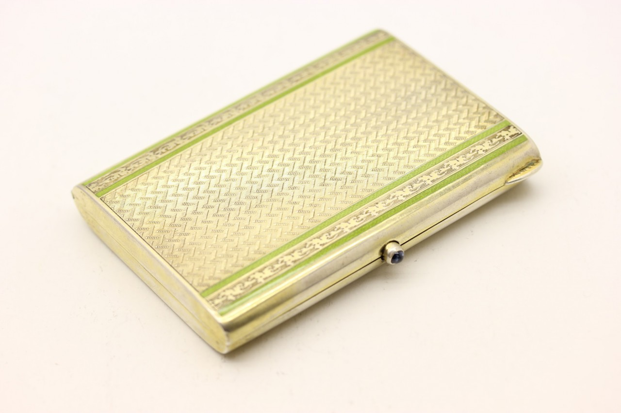 Kuppenheim Etui /Grünem emaille; Saphir Drücker, Case green enamel with sapphire press button