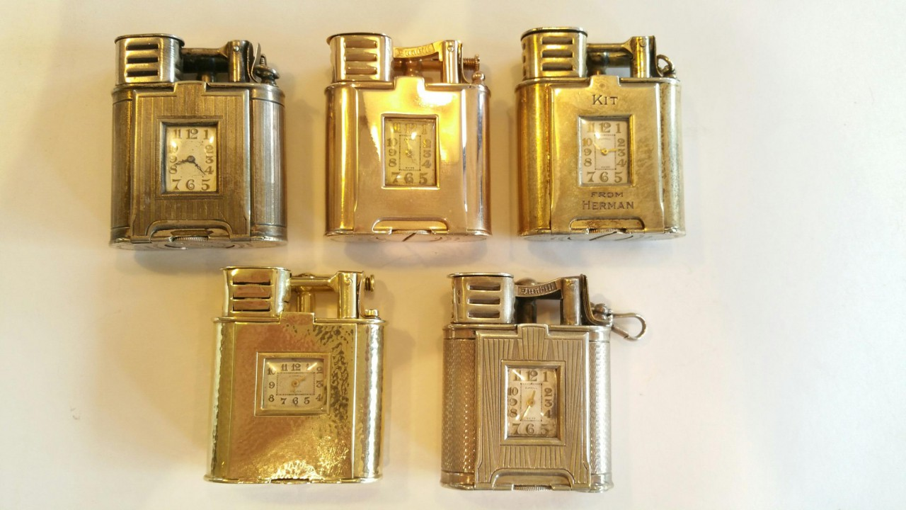 Dunhill watch lighter spors modell 5 pieces gold silver usa switzerland