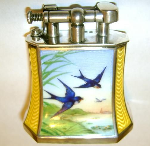 hard glass hardglass enamel table lighter kuppenheim louis germany silver