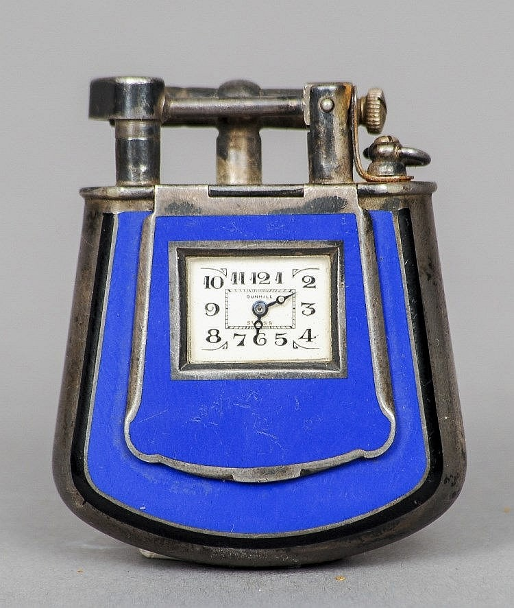 silver watch lighter dunhill enamel emailliert emaille email feuerzeug