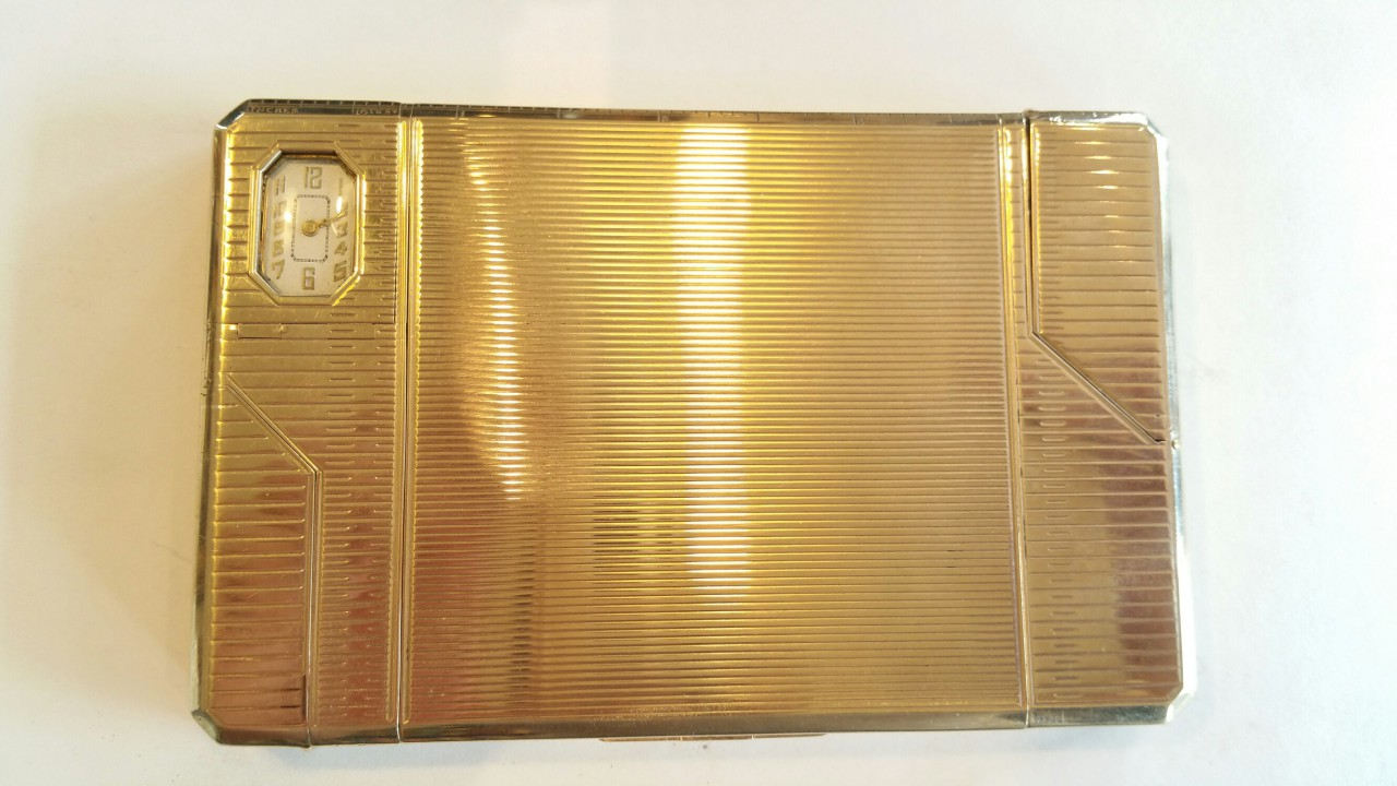 larger compendium gold lighter minaudiere feuerzeug 9ct. london hallmarked
