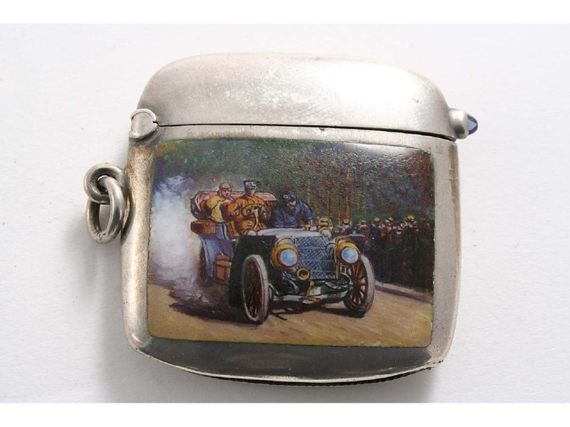 Match Safe, made around 1905, depicting car race